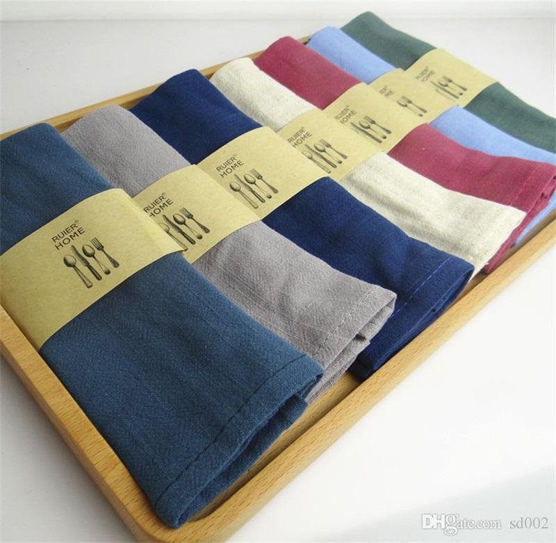 Cotton Linen Plain Colour Napkin Home Furnishing Table Kitchen Baking Dinner Cloth Water Absorption High Quality Napkins Multicolor 5 5sd jj