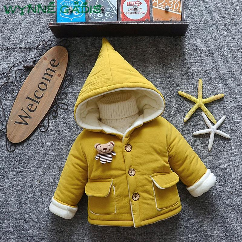 52cb3c6f WYNNE GADIS Winter Baby Boys Cartoon Bear Hooded Cotton Thicken Fleece Warm  Parkas Snow Wear Children Kids Outerwear Coats