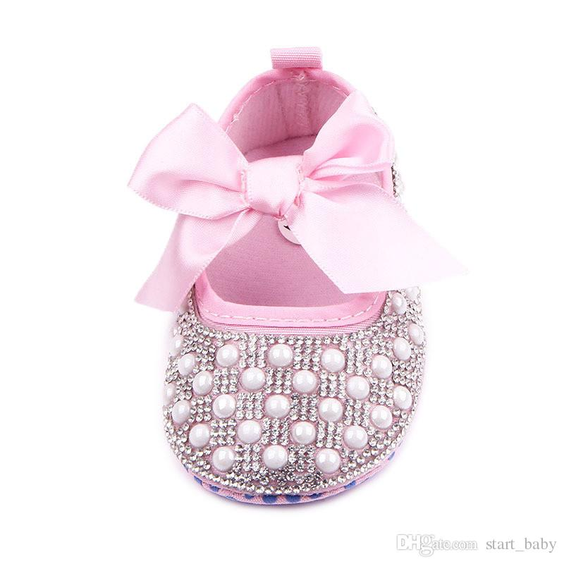 New Baby Girl Dress Shoes Shinning Pearl Cloth Big Bowknot First Walker Toddler Shoes Elastic Band Anti-slip Soft Sole 0-12 Months B11