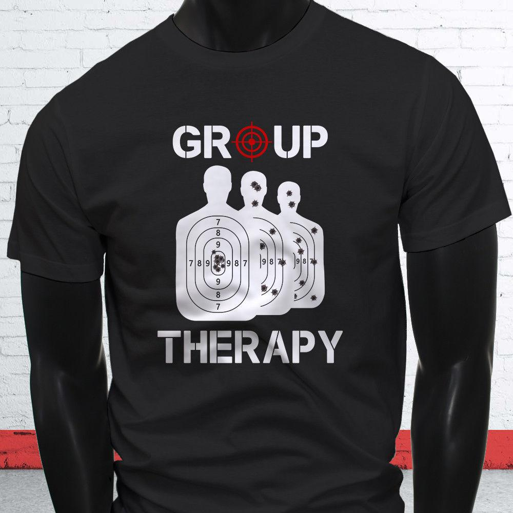 57c4d1a153 Group Therapy Gun 2nd Amendment Target Shooting Mens Black T Shirt Men O  Neck Tshirt Short Sleeve Print Casual Wholesale Discount One Day T Shirts  Coolest T ...