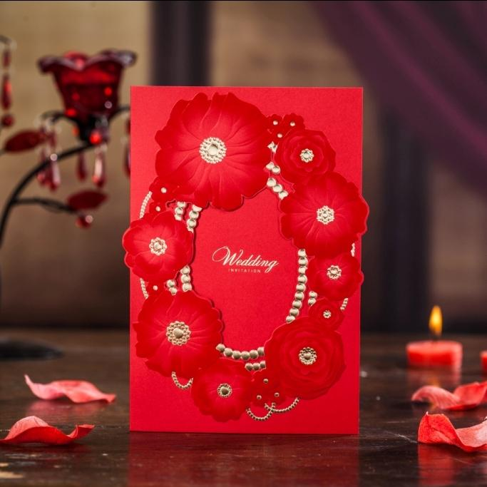 Elegant Laser Cut Wedding Invitation Free Printing Customized Greeting Birthday Card In Red Color Cw6037 Cards Online To Send
