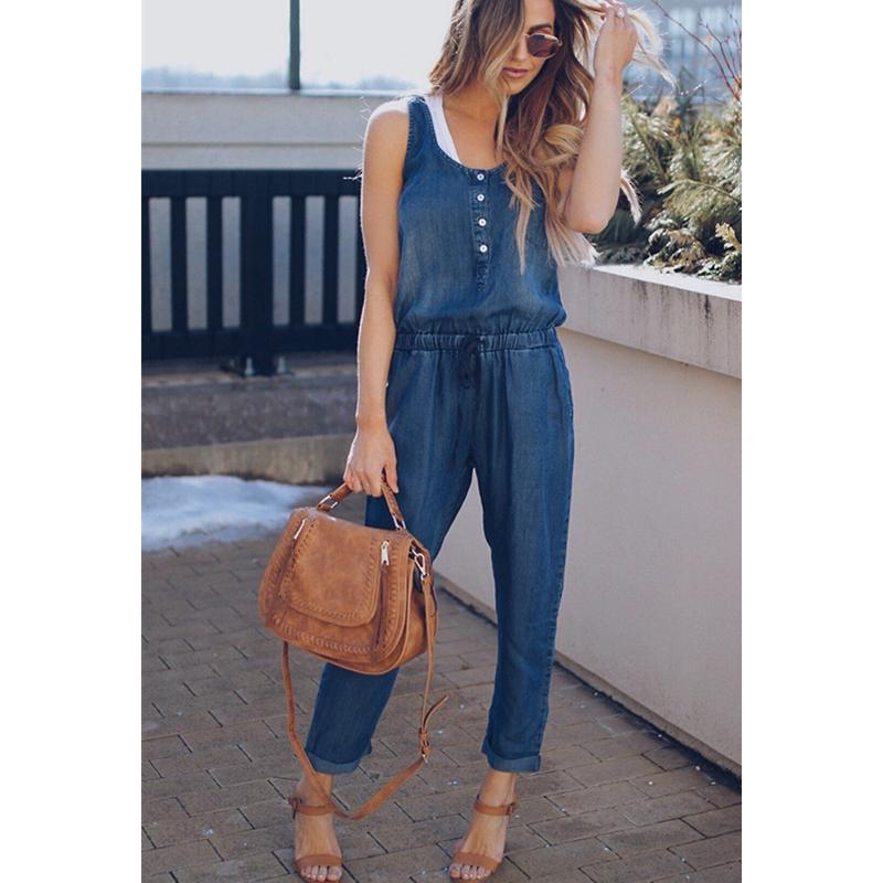 outlet store f59b7 16e23 Neue Ankunft Sleeveless Overall-Jeans-reizvoller Bodysuit Neue  Frauen-Denim-Overall-Spielanzug-Mädchen-Hosen-Jeans-Damen-Taschen-Overalls