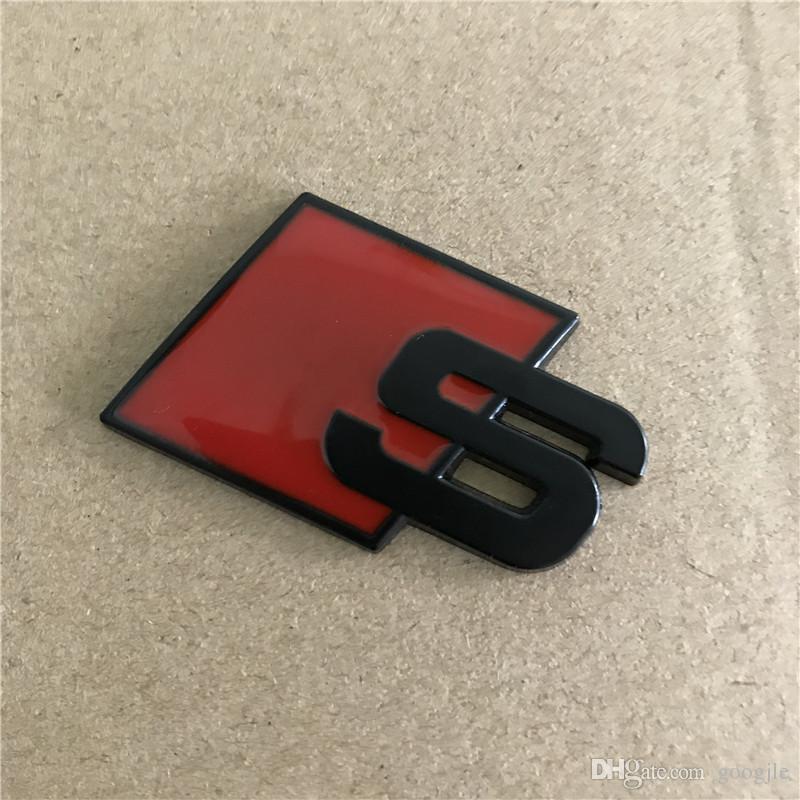 Metall S Logo Sline Emblem-Abzeichen-Auto-Aufkleber Rot Schwarz Front Rear-Boot-Türseite gepasst für Audi Quattro VW TT SQ5 S6 S7 A4 Zubehör