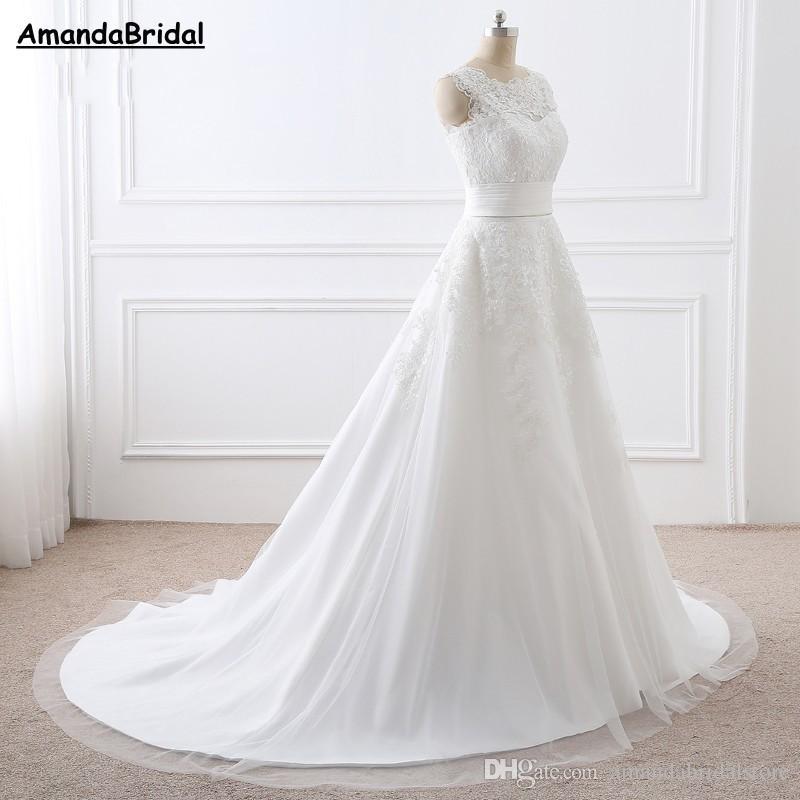 Amandabridal due pezzi abiti da sposa in pizzo con abiti da sposa treno staccabile abiti da sposa più dimensioni una linea