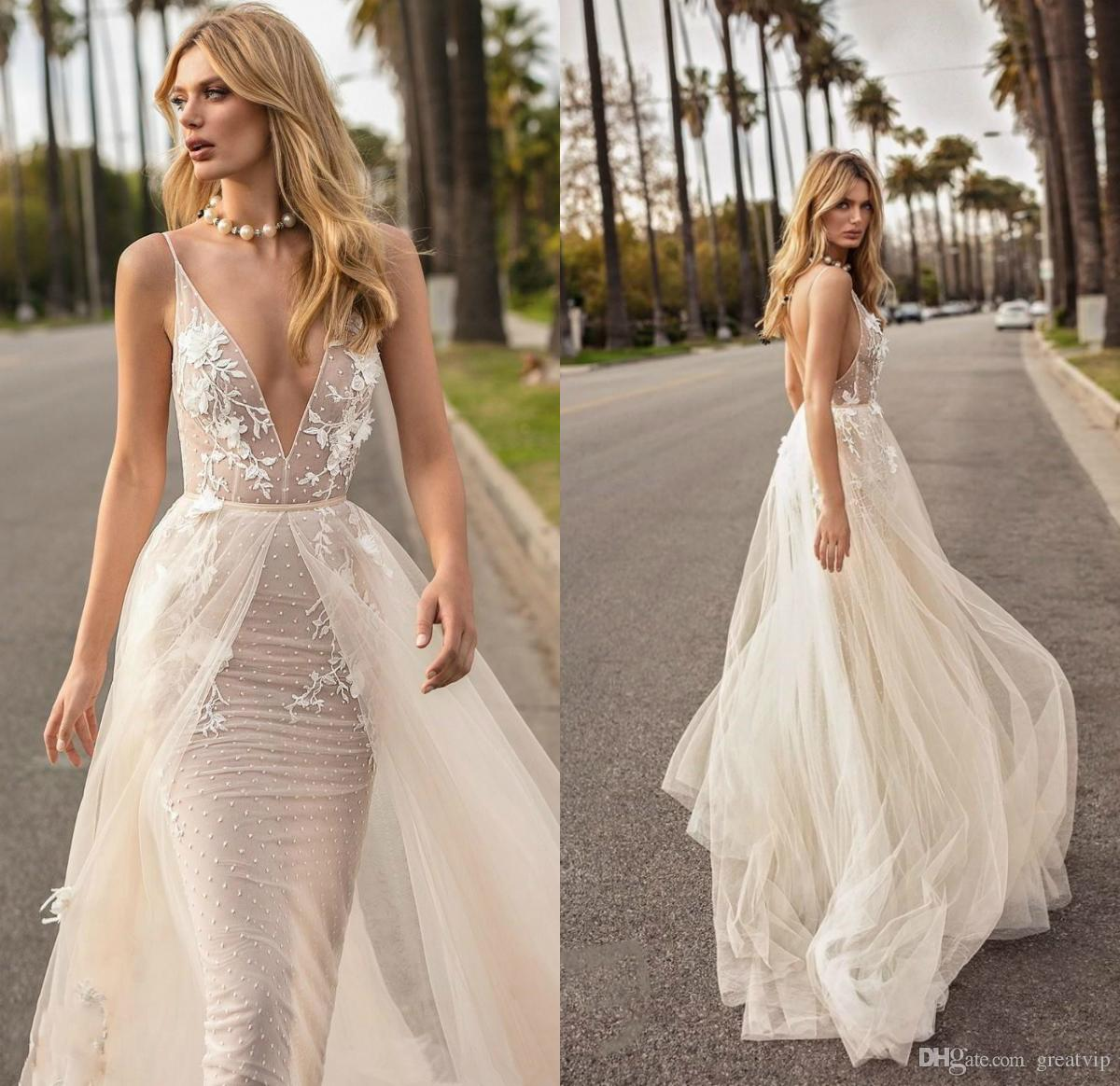 Muse By Berta 2019 Mermaid Overskirts Sexy Wedding Dresses V Neck Backless Lace Bridal Gowns Boho Beach Wedding Dress Robe De Mariee