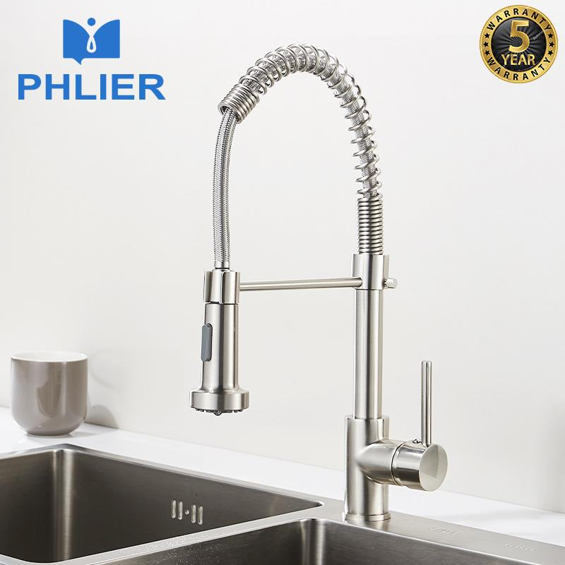 PHLIER Nickel Brushed Pull Out Kitchen Faucet Brass Sink Mixer Tap 360 Degree Rotation Spring Crane for Sinks,Cold Hot Torneira