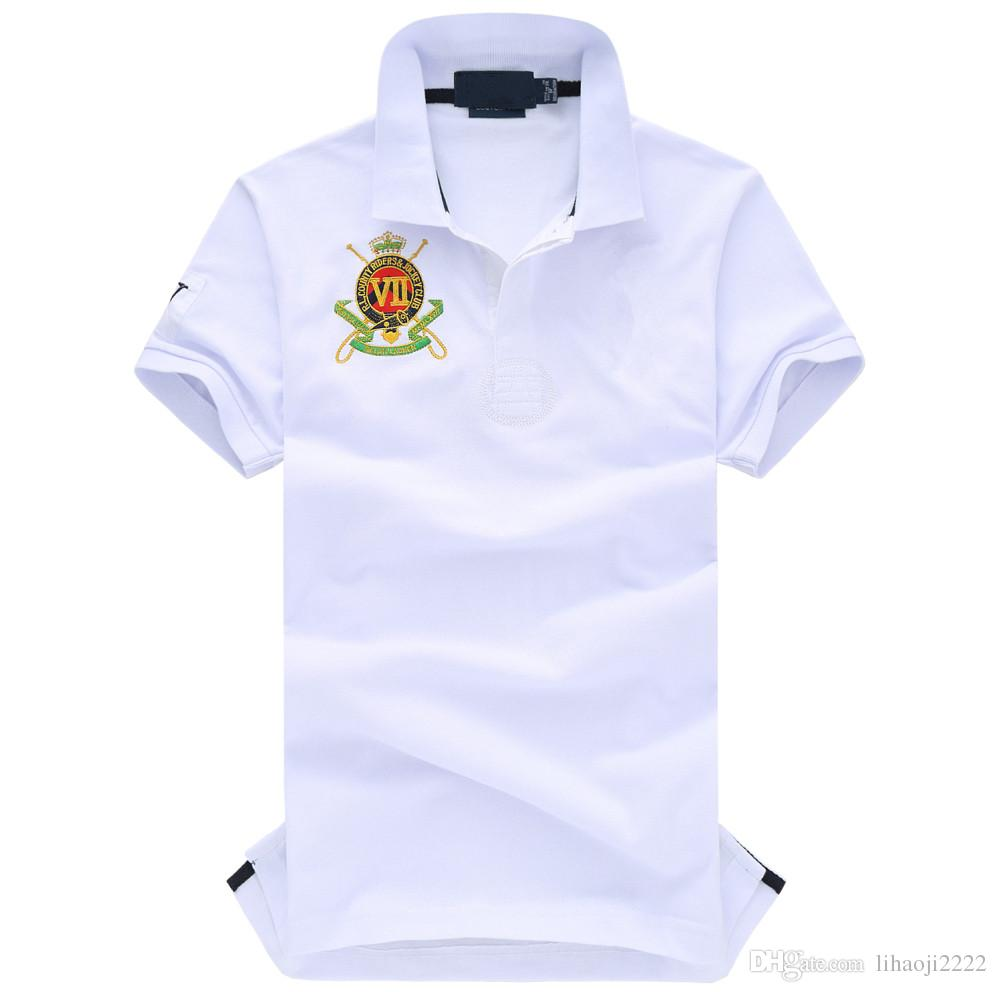 Polo di alta qualità degli uomini di marca polo nuova estate casual ricamo cotone polo da uomo polo solido camicia ralp uomini camisa