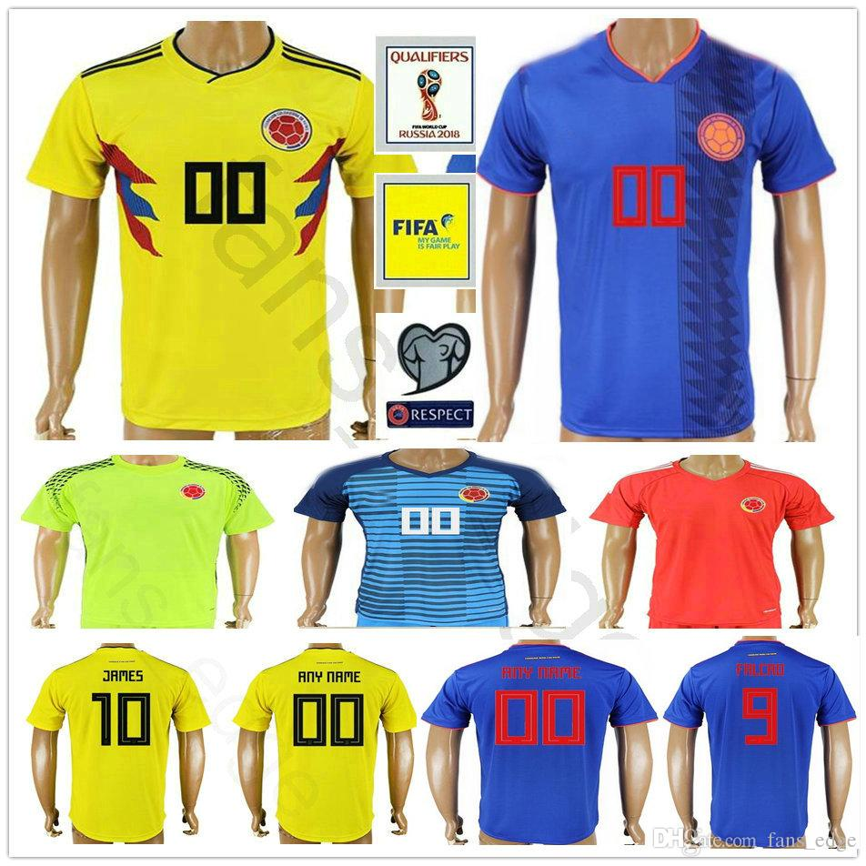 4018a30cd1d Copa Mundial De Fútbol De Colombia 2018 10 JAMES 9 FALCAO 11 CUADRADO 8  AGUILAR 13 GUARIN SANCHEZ TEO BACCA Camiseta De Futbol Visitante Por  James_01_shop, ...