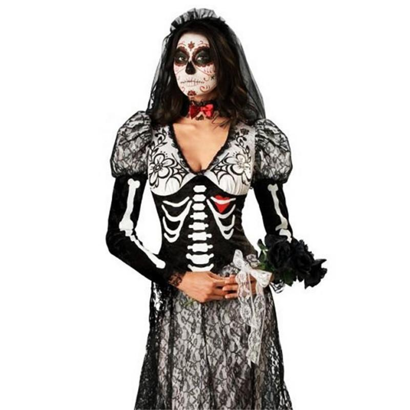 Delightful New Luxurious Skeleton Ghost Bride Costume Halloween Sexy Skull Corpse  Bride Cosplay Dress Scary Zombie Day Of The Dead Clothing Good Costume  Themes Costume ...