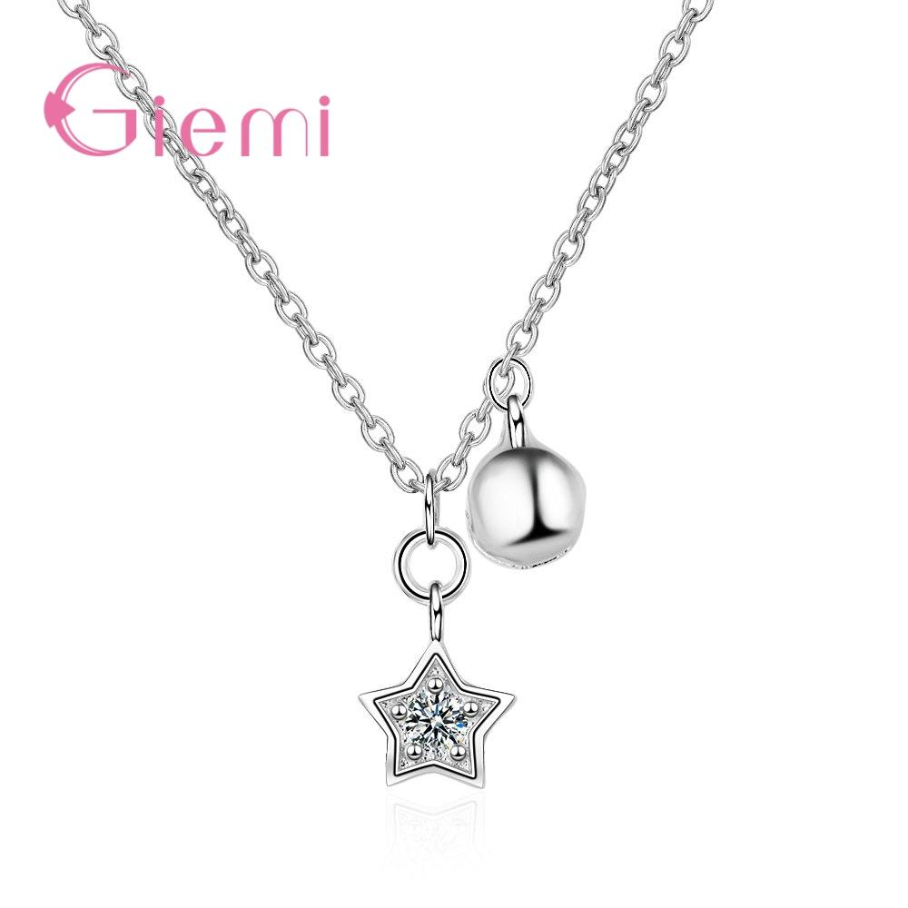 Wholesale GIEMI Fashion Elegant Star Pendant Necklace 925 Sterling Silver Jewelry Wonderful Birthday Gift For Girlfriend Party Wedding Gold Chains Diamond