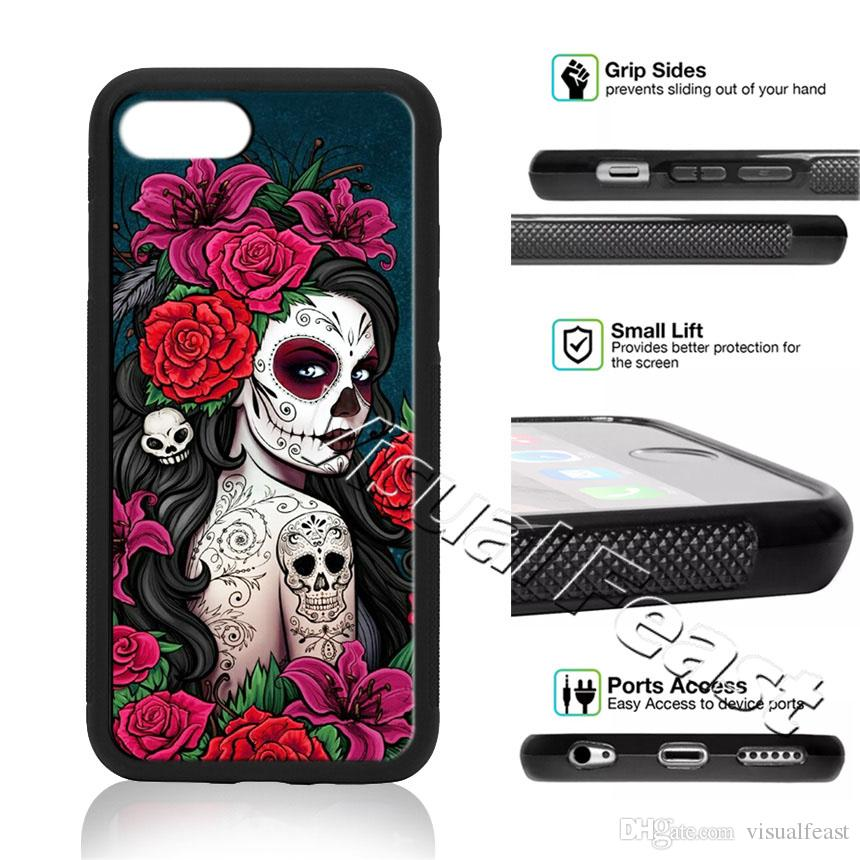 premium selection 1f7ba d17c9 Floral Sugar Skull Girl Rose Pattern Phone Case For iPhone X 8/7/6/6s Plus  5s SE Phone Cover Free Gift