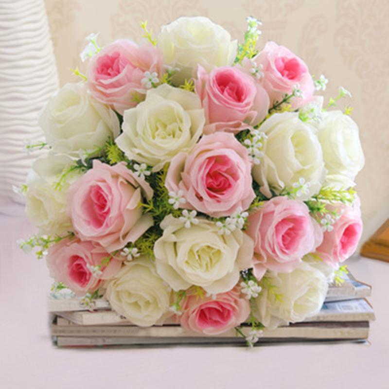 2018 Wholesale 1 Bouquet 18 Head Bridal Silk Fake Roses Artificial ...