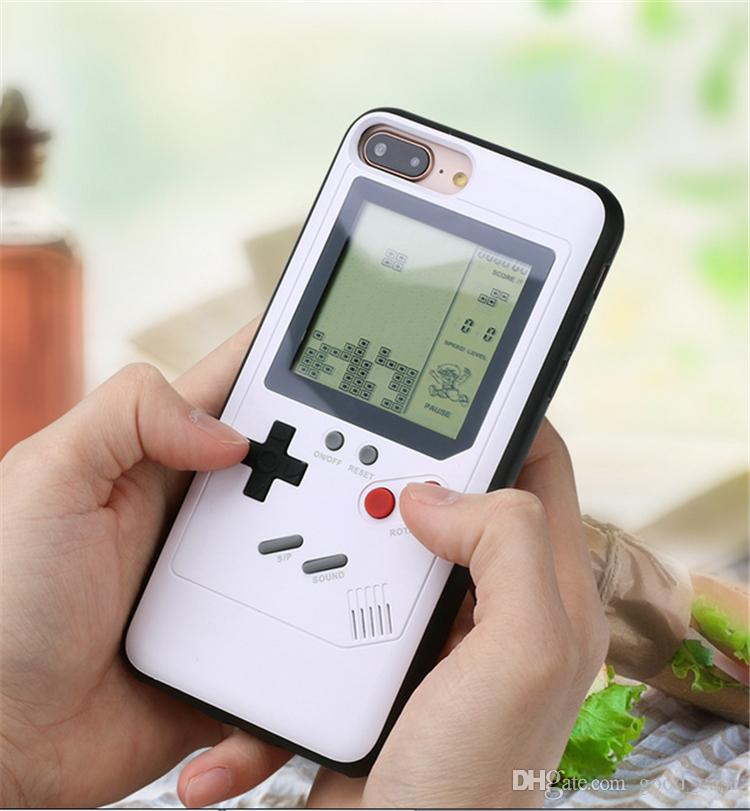 new style a5f0d 1cbc4 For iphone x Gameboy Tetris Case Play mini Game Console PlayStation back  cases Cover Shockproof Protection Case For Iphone 6 6s 7 8 Plus