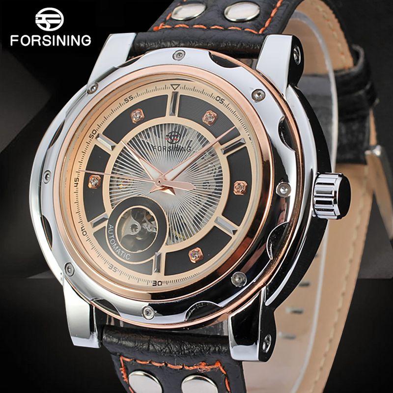 89e63bbd97c Compre Forsining Couro Genuíno Mens Relógios De Luxo Da Marca Masculina  Relógio Mecânico Automático Esporte Homens Relógio Do Punk Transparente De  Sara001