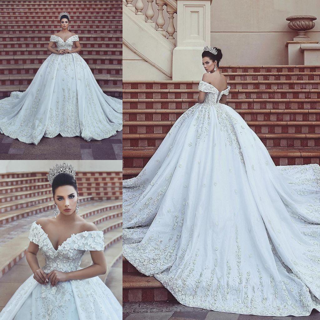 2c4c9ac949245 Discount 2018 Elegant White Satin A Line Wedding Dresses Off Shoulder Lace  3D Floral V Neck Appliques Pearls Beads Lace Up Back Wedding Gowns BA8523 A  Line ...
