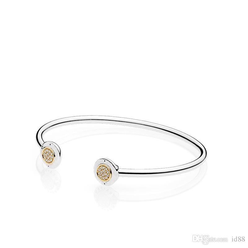 99e79918f651 Las mujeres de la marca de joyería de lujo Real chapado en oro amarillo CZ  brazalete de diamantes Cuff caja original para Pandora 925 pulsera de ...