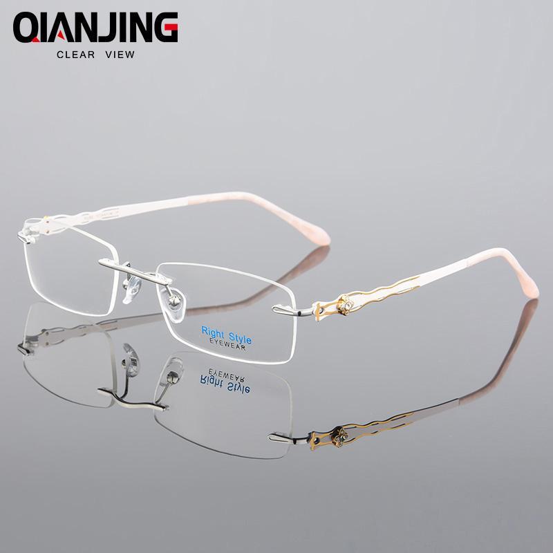 Großhandel Qianjing Floral Pure Titanium Brillen Randlose Optische ...