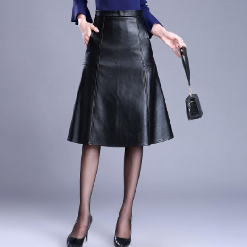 77ec165bf4552 YSMARKET Women PU Leather Skirt Casual Office Work High Waist Knee Length  Plus Size 4XL Autumn Winter Black A Line Skirts E6105