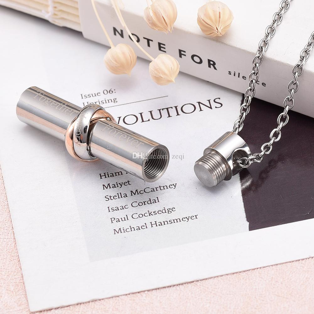 Stainless steel hollow cylinder together forever forever love cremation memorial urn necklace