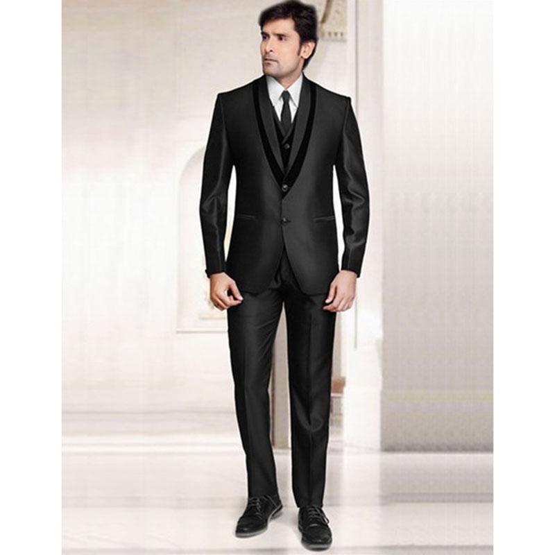 25aaf87dbcef Acquista India Black Notch Risvolto Due Bottoni Due Tasche Smoking Dello  Sposo Abiti Da Lavoro Uomo Vestito Da Uomo Giacca + Pantaloni + Gilet +  Cravatta A ...
