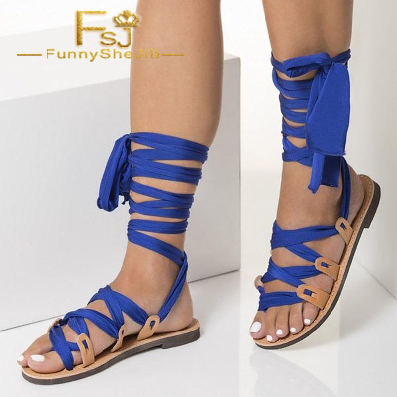 b8830085efd0b6 Nude Beach Gladiator Sandals Royal Blue Scarves Strappy Sandals Anniversary  Attractive Generous Incomparable Noble Elegant FSJ Sandal Ladies Shoes From  ...