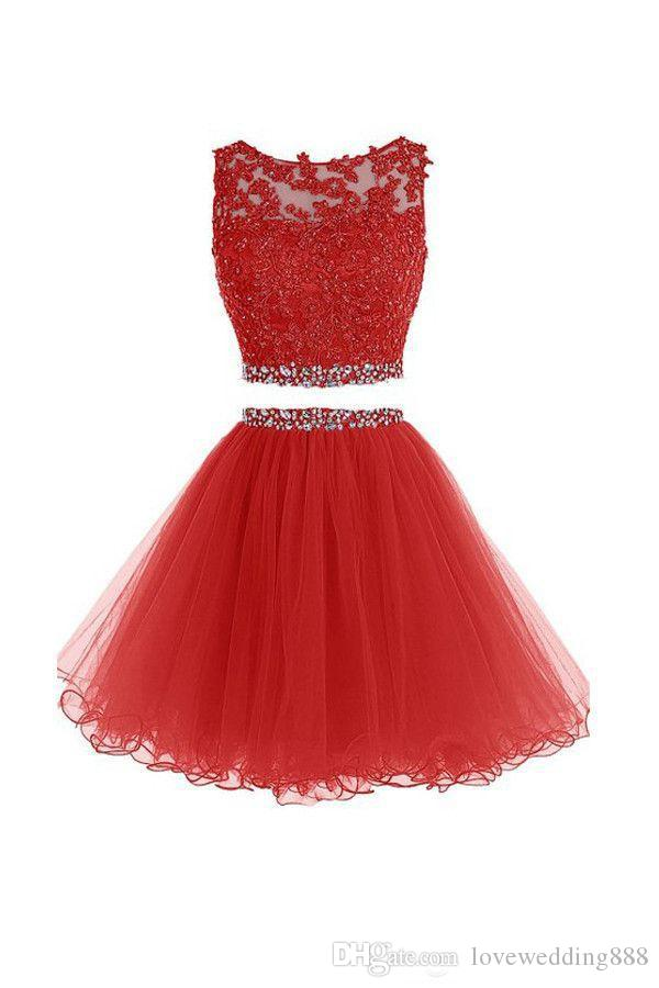 2019 Short Two Pieces Prom Cocktail Dresses Beads Crytal Tulle Mini Homecoming Gowns Cheap Party Hollow Back