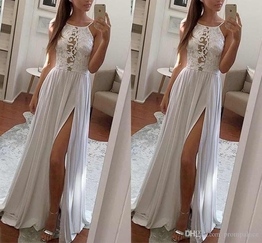 New Lace Top Evening Dresses Halter Chiffon Side Split Modern Long Skirt Cheap Transparent Prom Formal Gowns Pageant Dresses