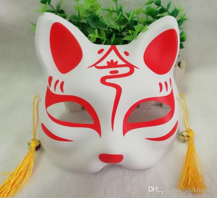 Japanese Wind Half Face Fox Cat Mask Hand Painted PVC Men And Women Anime Cosplay Stage Mask