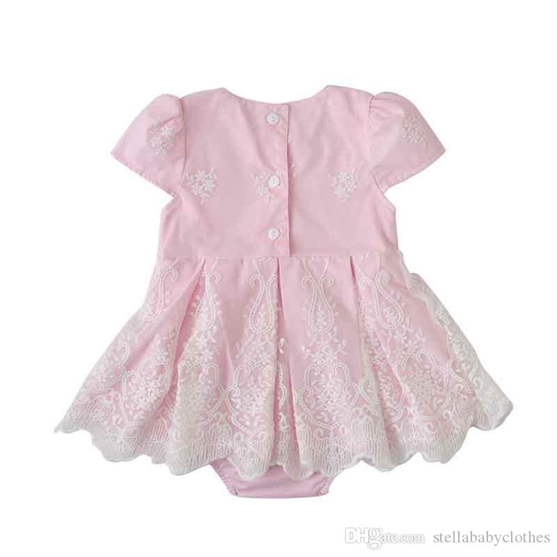 Summer Pink Flower Print Cap Sleeve Girls Dress Birthday Party Girls Dress with Bodysuit Sweet Girls Tirantes Vestido de fiesta
