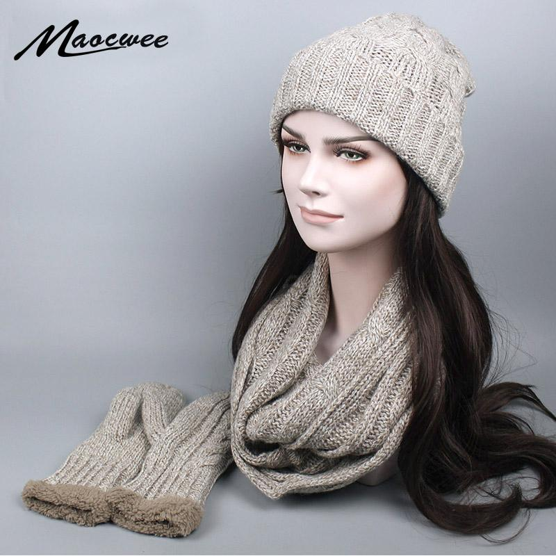 2019 New Winter Knitted Scarf Hat   Glove Sets For Women Man Wool Warm Plus  Cashmere Thicker Scarves Skullies Beanies From Chuancai 78daf9d7c562