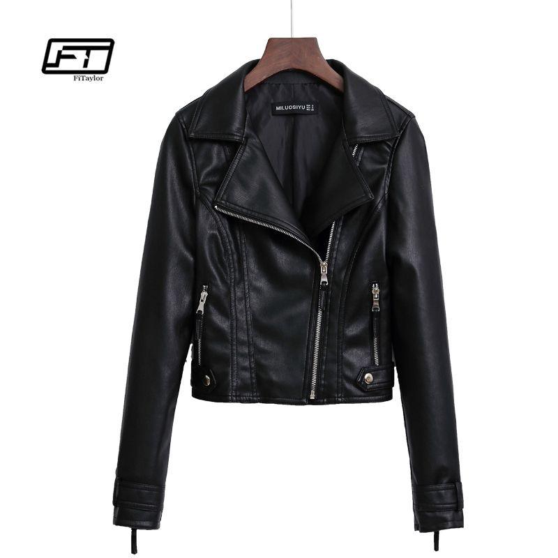 a32e10f58 Fitaylor Autumn Black Leather Trench Coat Women Slim Faux PU Leahter Jacket  Motorcycle Punk Pink Jacket Biker Outwear