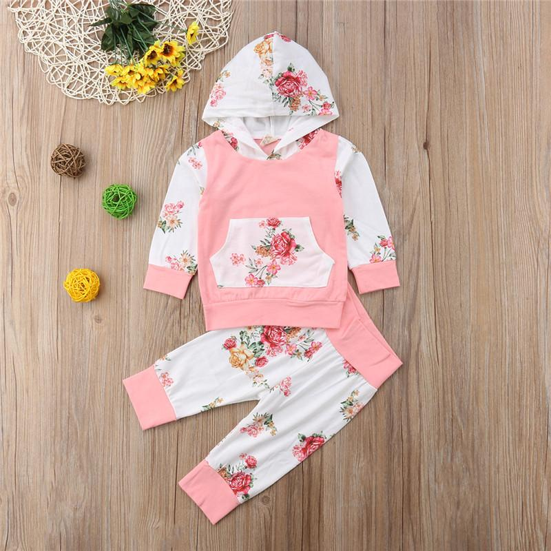 0092033a 2019 Autumn Long Sleeve Hooded Tops Pants Girls Clothing Floral Outfit  Tracksuit 0 24M Infant Newborn Baby Girl Clothes Set From Benedicty, $38.88  | DHgate.