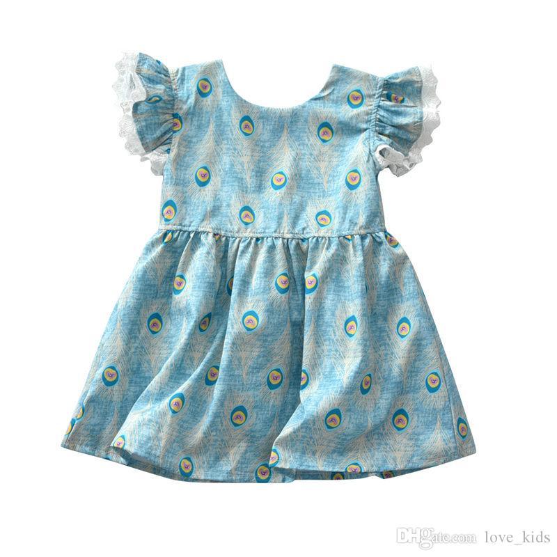 2018 yeni stil çocuklar yaz elbiseler elbise BUTIKLAR Kızlar uçan kısa kollu elbise bebek kız tavuskuşu saç baskılı prenses etek