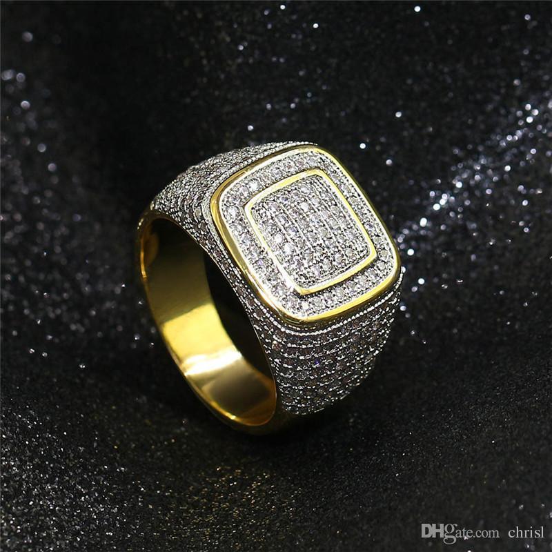 Erkekler Kadın Erkek Kristal Ring için Hip Hop 18K Altın küme Ekili cz buzlu Out Pirinç Yüzük