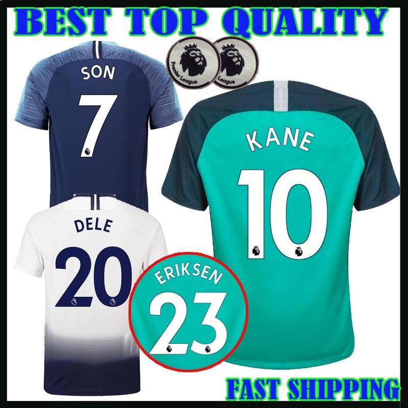 40896d8617 18 19 Premier League KANE Soccer Jersey Home Away Third Green Soccer Jersey  2017 2018 LAMELA ERIKSEN DELE SON Away Blue Football Uniform KANE Jersey  DELE ...