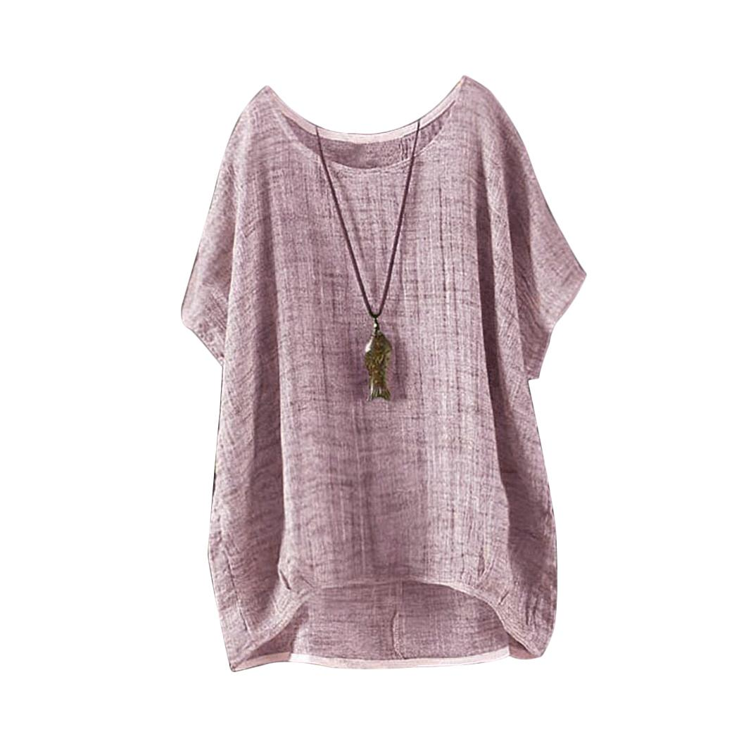 bb459c042bd17 2019 Vintage Summer Batwing Linen Tops And Blouse Women Plus Size Short  Sleeve 2018 Casual O Neck Loose Shirt Solid Color Blusas Tees From  Redbud01