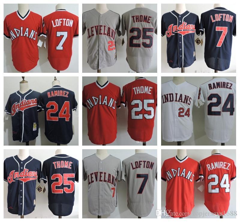 reputable site 2f3c9 264c9 Mens #25 JIM THOME Jersey Stitched #7 Kenny Lofton #9 Carlos Baerga #24  Manny Ramirez Baseball Jerseys M-3XL