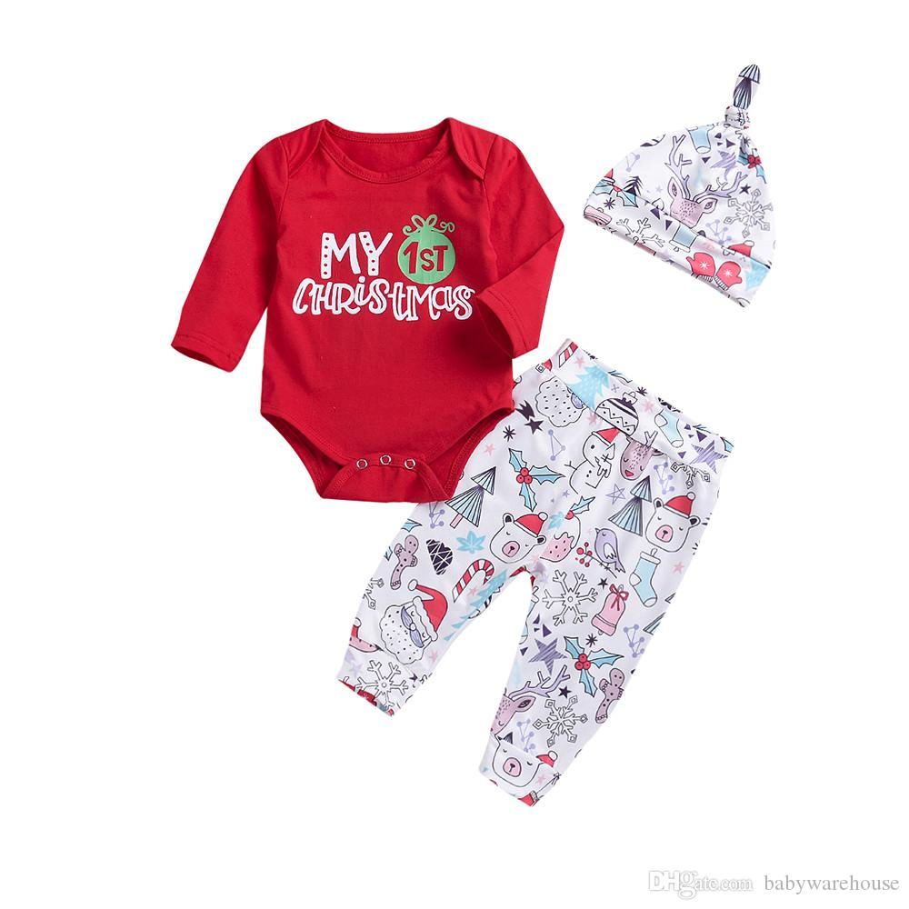 82bcb1617 Girls Christmas Outfits Newborn Baby Boy Clothes Set Letter Top Deer ...