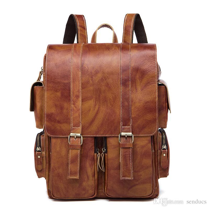 Cheap Backpack Male Genuine Leather Laptop Backpacks Men Luggage Shoulder  Bag Computer Backpacks Schoolbag Bagpack Men Bag Laptop Backpacks Travel  Backpacks ... 55d6690917c3e
