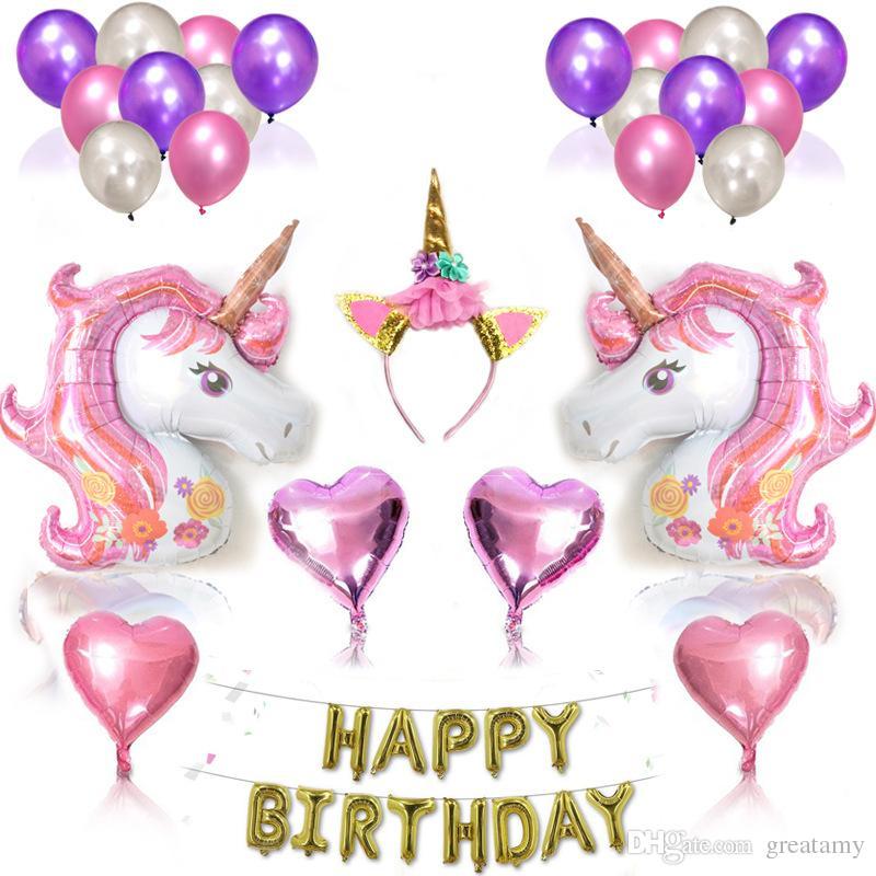 Grosshandel Einhorn Ballon Party Paket Set Unicorn Geburtstag Ballon