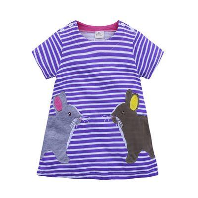 European Fashion Kids Girls Clothing Fox Printed Dress Cotton Striped Full Sleeve Girls Dress Loose Robe Kids Beach Dresses
