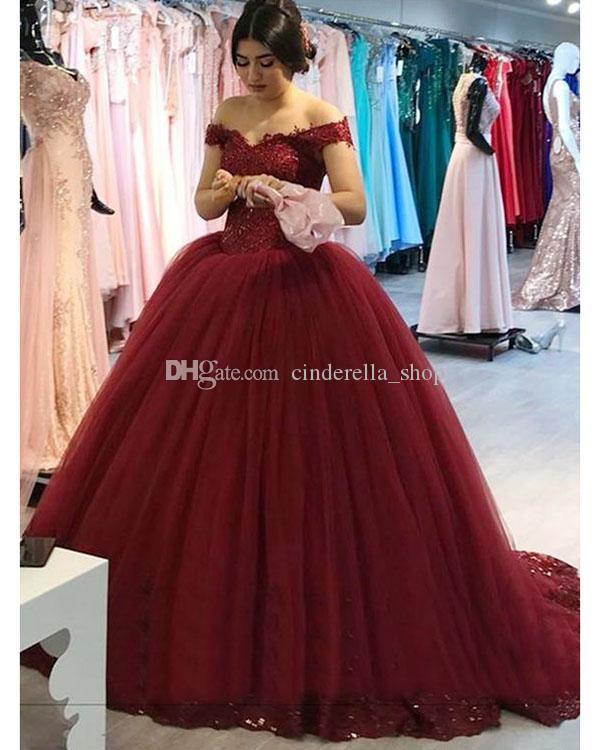 8f0db7b243d Burgundy Ball Gown Quinceanera Dresses 2018 Off Shoulder Appliques Beads  Sweep Train Sweet 16 Girl Dresses Vestidos De Quinceanera Custom Quinceanera  ...