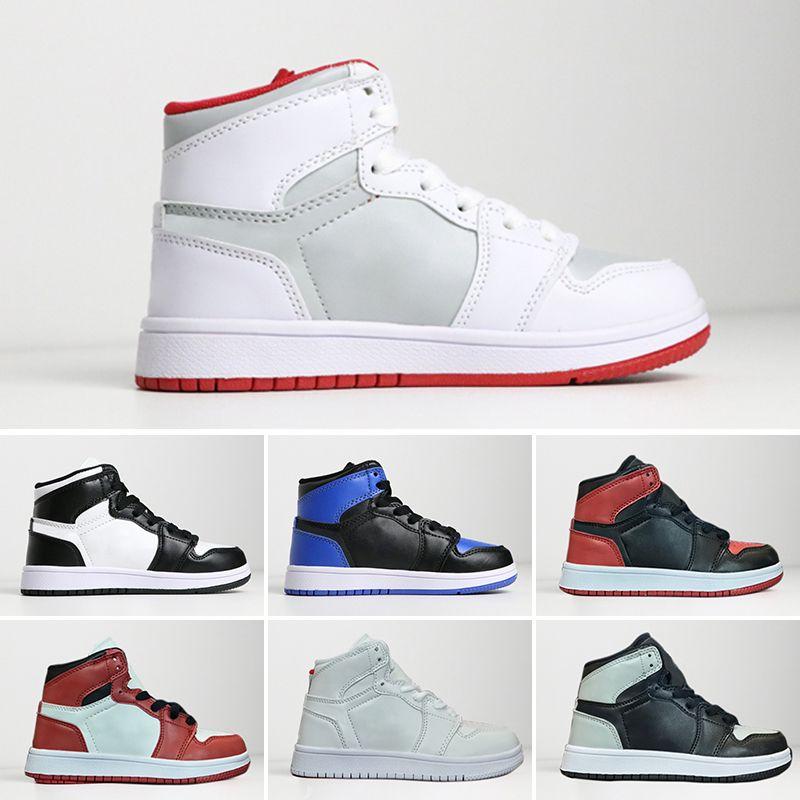 check out 54d71 2ba3b Großhandel 2018 Kinder Nike Air Jordan 1 Retro Basketball Schuhe Kinder  Jungen Mädchen 1 Gezüchtet Schwarz Rot Weiß Sneakers Kinder  Geburtstagsgeschenk EUR ...