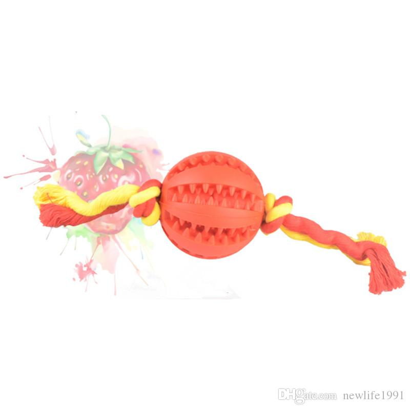 Pet Funny Chewing Toy Cotton Rope and Rubber Ball Lovely Puppy Accessories Dogs Cats Tooth Cleaning Tools Pets training Balls Free Ship