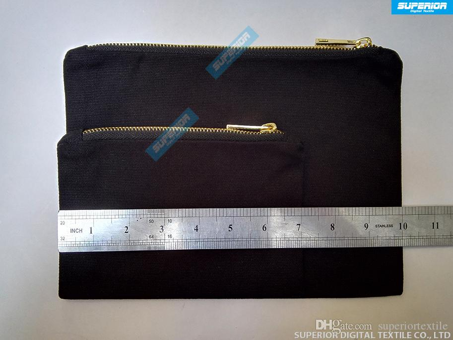 / 5x7 Pouces Blanc Naturel Coton Cosmétique Sac 12oz Naturel Toile Zipper Poche Plaine Vide Maquillage Sac Avec 5 # Métallique Or Zipper