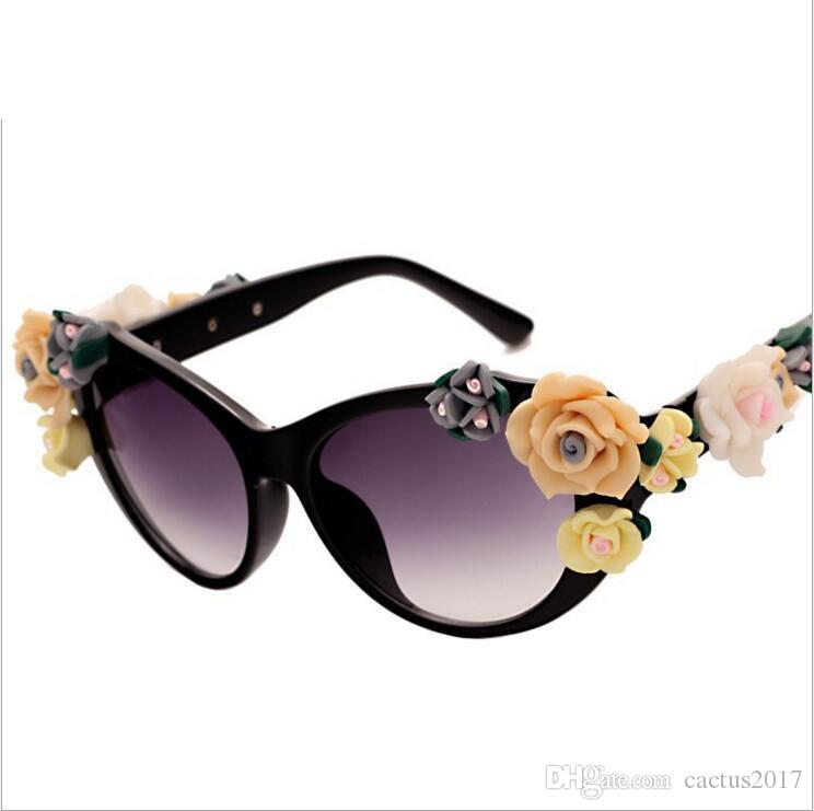 82a66d5855972 Summer Oculos Vintage Retro Baroque Rose Flower Sunglasses For Women Brand  Design Cat Eye Ladies Sun Glasses Gafas De Sol Mujer Eyewear Designer  Sunglasses ...