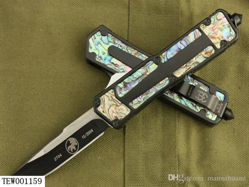 7 types Scarab Gold Scarab Abalone Shell double action automatic 440 knife tactical Hunting pocket knife outdoor camping survival knife