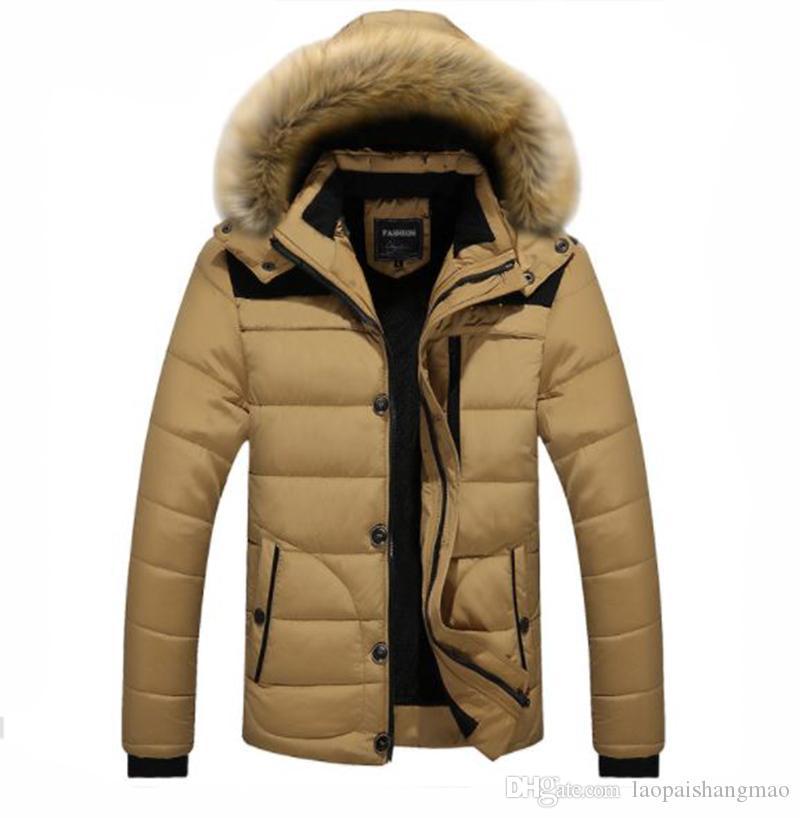 Inverno nuova manica lunga colore solido del cotone del rivestimento degli uomini giù giacca con cappuccio sciolto e ispessita giacca di cotone caldo della camicia di sci cappotto casuale