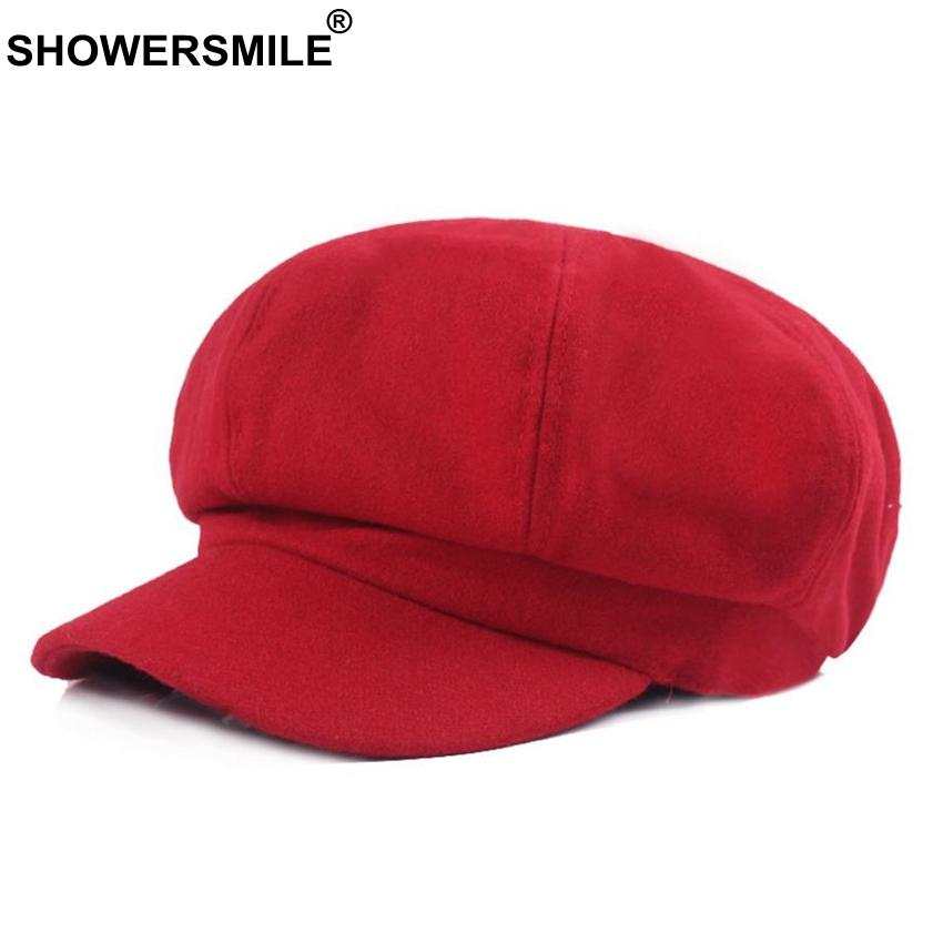 b60ec1b4abe0c 2019 SHOWERSMILE Red Wool Hat Women Newsboy Cap Autumn Winter Vintage  Octagonal Cap Casual Elastic Hat Female Painter British From Junemay