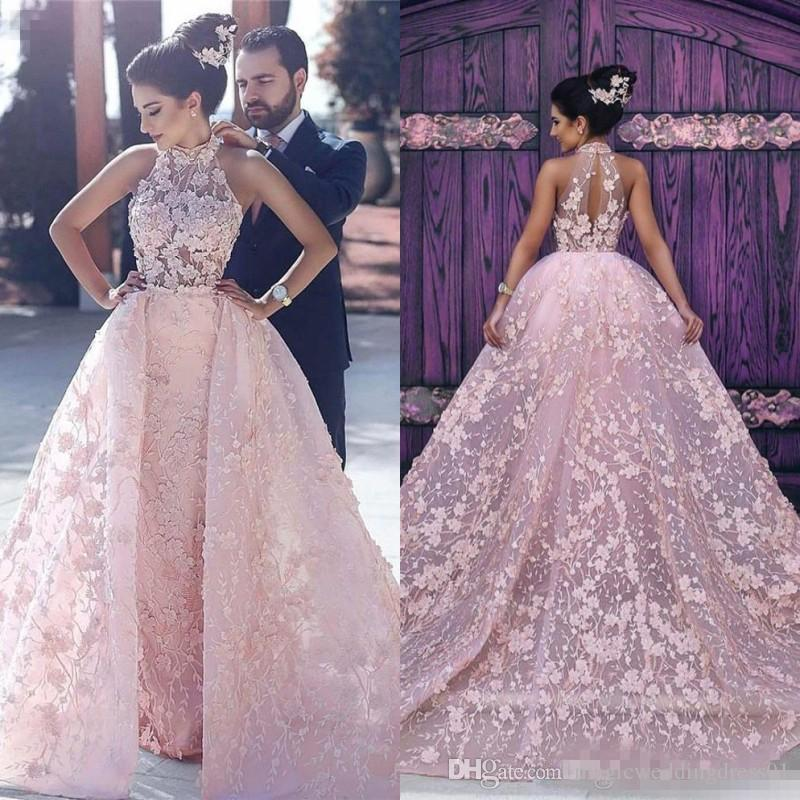 Newest Arabic Evening Dresses 2018 Appliques Blush Pink High Neck Long Prom Celebrity Party Gowns with Detachable Train